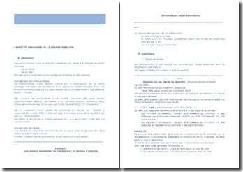 La transformation d'entreprise: aspects juridiques et fiscaux