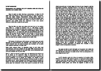 Le bail commercial : commentaire de la décision de la 3e chambre civile de la Cour de cassation du 2 octobre 2002