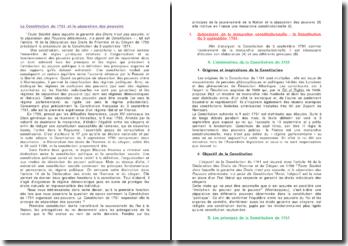 La Constitution de 1791 et la séparation des pouvoirs