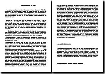L'interprétation de la loi - Le libellé, le sens et l'interprète