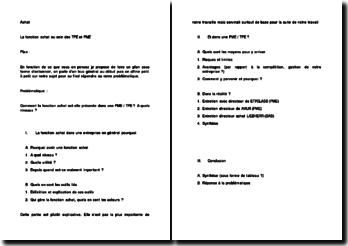 Plan du sujet : Comment la fonction achat est-elle présente dans une PME / TPE ? A quels niveaux ?