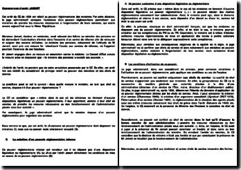 Commentaire d'arrêt Jamart, relatif au pouvoir réglementaire des ministres