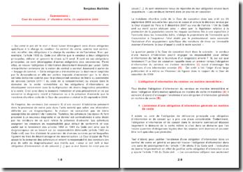 Commentaire : Cour de cassation, 3e chambre civile, 23 septembre 2009. L'obligation d'information du vendeur en matière immobilière