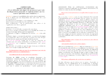 Commentaire de l'article 5 du code civil: ce que le juge peut et ne peut pas faire