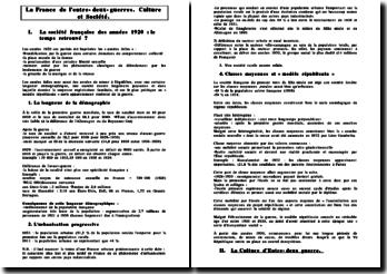 La France de l'entre-deux guerres: la société française des années 1920 : le temps retrouvé ?