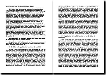 La nullité absolue pour cause de vileté du prix dans un contrat de vente, chambre commerciale de la cour de cassation du 23 octobre 2007