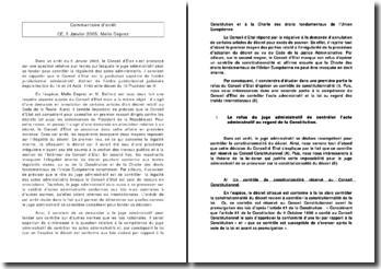 La compétence du juge administratif de contrôler les actes administratifs par rapport à la Constitution et à la Charte des droits fondamentaux de l'Union Européenne, conseil d'Etat, 5 janvier 2005
