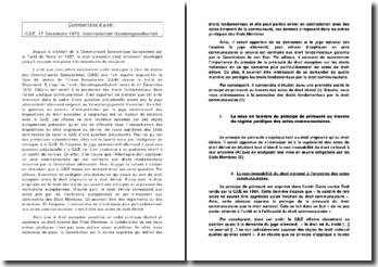 Le juge national peut-il refuser d'appliquer un acte communautaire si celui-ci est contraire aux droits fondamentaux garantis par la Constitution de son Etat? cjce, 17 décembre 1970