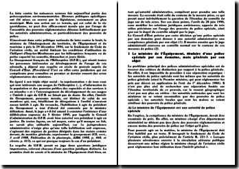 L'usage des pouvoirs de police spéciale et le degré du contrôle adopté par le juge, conseil d'Etat, 28 juin 1996