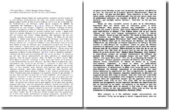 « Principia Ethica » (1903) Georges Edward Moore Les notions philosophiques du bien du mal et de l'éthique