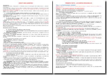 Cours de droit des sûretés - cautionnement et garanties, sûretés immobilières et mobilières