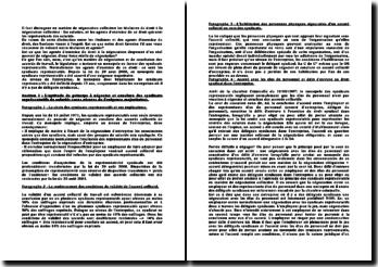 Les agents d'exercice du droit des salariés à la négociation collective en droit du travail