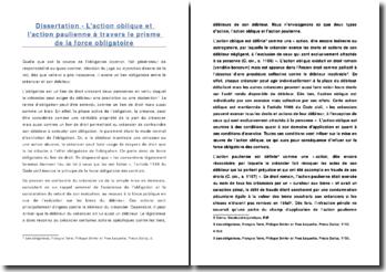Dissertation - L'action oblique et l'action paulienne à travers le prisme de la force obligatoire