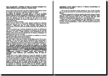 Com. 22 avril 1976 : conditions de l'abus de majorité (ambiguité avec «sinon suffisante» pour la condition de l'intérêt social)