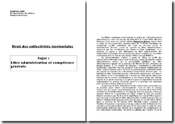 Droit des collectivités territoriales : libre administration et compétence générale