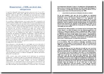Dissertation - l'EIRL en droit des obligations