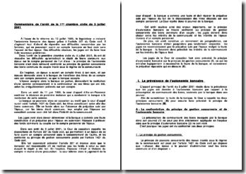 Commentaire de l'arrêt de la 1ère chambre civile du 3 juillet 2001