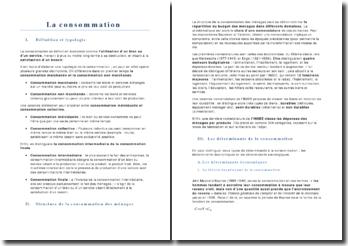 LA CONSOMMATION : DÉFINITION ET TYPOLOGIE