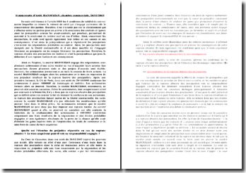 Commentaire d'Arrêt MANOUKIAN, chambre commerciale, 26/11/2003