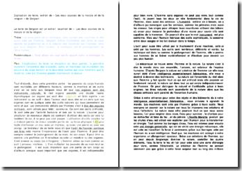 Explication de texte, extrait de « Les deux sources de la morale et de la religion » de Bergson