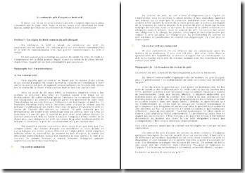 Le contrat de prêt d'argent en droit civil