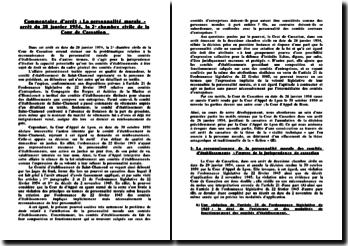 Commentaire d'arrêt : la personnalité morale - arrêt du 28 janvier 1954, la 2e chambre civile de la Cour de cassation