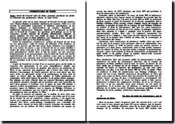 Arrêt du Conseil suivi de lettre patentes touchant les droits et l'autorité des parlements (Paris, 21 août 1718)