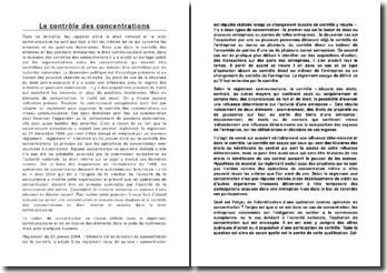Le contrôle des concentrations en droit interne et communautaire