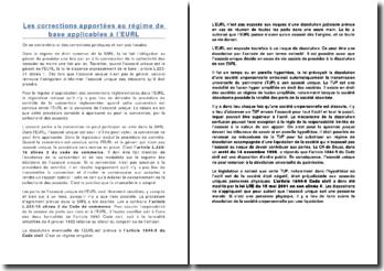Les corrections apportées au régime de base applicables à l'EURL