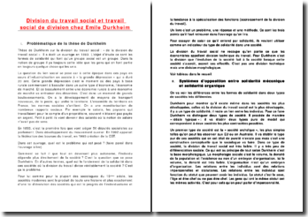 Division du travail social et travail social de division chez Emile Durkheim