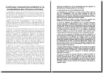 L'arbitrage transnational unilatéral et la jurisprudence des tribunaux arbitraux