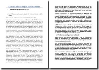 Le droit économique international: définition, sources et la société internationale