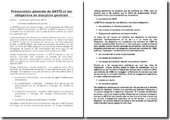 Présentation générale du GATT et les obligations de discipline générale