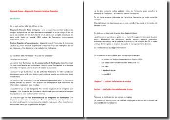 Cours de finance : diagnostic financier et analyse financière