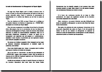 Le mode de fonctionnement du Management de Toyota Algérie
