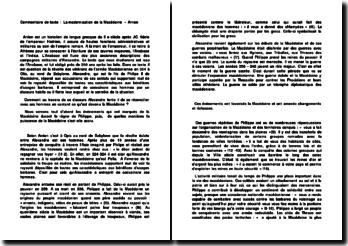 Commentaire de texte : La modernisation de la Macédoine - Arrien