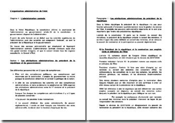 L'organisation administrative de l'état : l'administration centrale