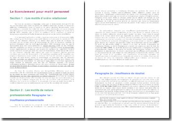 Le licenciement pour motif personnel: motifs relationnels, professionnels, personnels