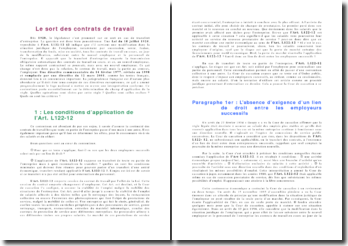 Le sort des contrats de travail: conditions d'application et effets de l'article L112-12