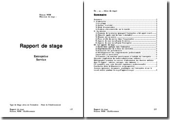 Trame d'un rapport de stage