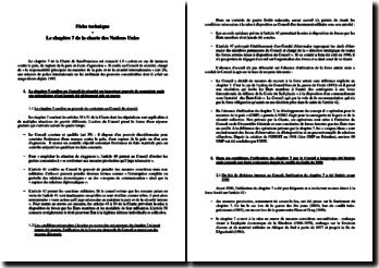 Le chapitre 7 de la charte des Nations Unies