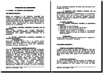 Liberté d'entreprendre, Fondements et Règles du Droit Commercial, Opérations juridiques de l'entreprise