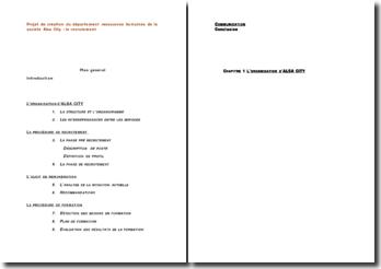 Projet de création du département ressources humaines de la société Alsa City : le recrutement