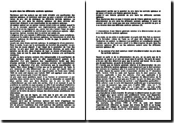 Théorie générale de la détermination, du contrôle et de la révision du prix dans les différents contrats spéciaux