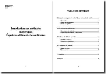 Introduction aux méthodes numériques dans la résolution d'équations différentielles ordinaires : modèle LotkaVolterra