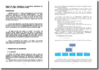 Rapport de stage : présentation et organisation quotidienne de crèche 1,2, 3 soleil » de Villeneuve d'Ascq