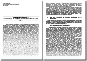 Le Préambule de la Charte constitutionnelle du 4 juin 1814