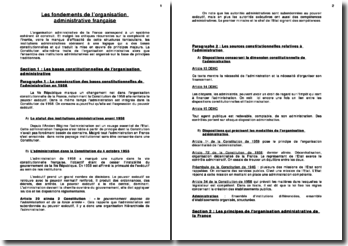 Les fondements de l'organisation administrative française