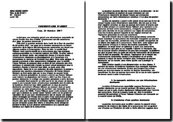Commentaire d'arrêt, cour de cassation, 23 octobre 2007: l'abus de position dominante