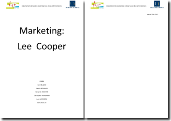 Etude marketing : Lee Cooper